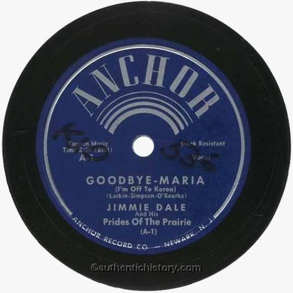Good Bye Maria (I'm Off to Korea) by Jimmy Dale - The Korean War